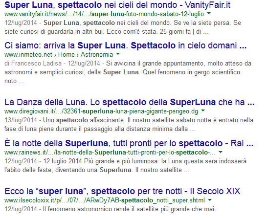 SuperLuna, titoli Google